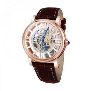 TEIWE TW2055G-A SKELETON MASTERPIECE ROSE GOLD BROWN LEATHER